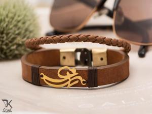 دستبند چرم مردانه و زنانه با پلاک طلا
