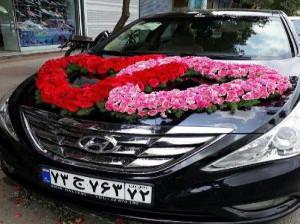 مدل تزیین ماشین عروس جدید 97 - مدل تزیین ماشین عروس با بادکنک - مدل تزیین ماشین عروس با گل طبیعی