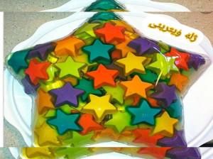 طرز تهیه ژله ویترینی به شکل ستاره خوشمزه و مجلسی