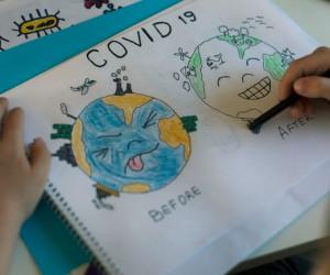 ۵۰ نقاشی دنیای با کرونا و بی کرونا برای رنگ آمیزی کودکان