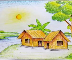نقاشی طبیعت : 40 نقاشی ساده طبیعت برای رنگ آمیری کودکان