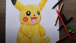 طراحی و نقاشی پیکاچو با مداد رنگی