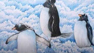 طراحی و رنگ آمیزی پنگوئن در برف