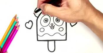 نقاشی بستنی عروسکی خرس پاندا