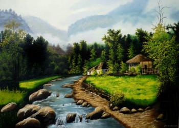 30 مدل نقاشی رنگ روغن گل و طبیعت و منظره