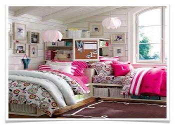 عکس اتاق خواب دخترانه ساده با طراحی شیک و زیبا