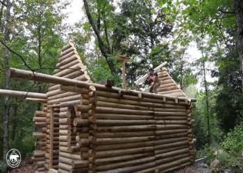 تایم لپس ساخت کابین چوبی در جنگل (فیلم)