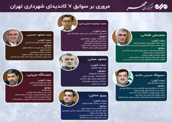 اینفوگرافی سوابق ۷ کاندیدای شهرداری تهران