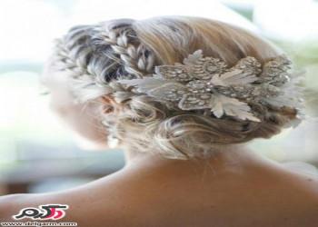 مدل مو عروس همراه تاج گل زیبا