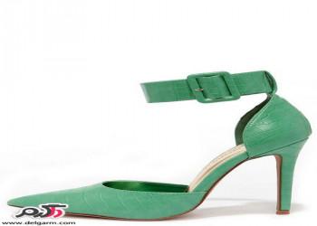 مدل کفش پاشنه نازک با تم رنگی سبز و صورتی