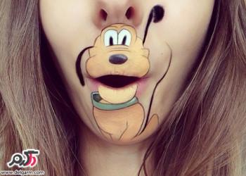 نقاشی شخصیت های کارتونی روی لب