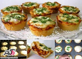 طرز پخت کاپ کیک پیتزا ساده و خوشمزه
