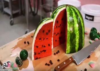 تزئین کیک و شیرینی شب یلدا، کیک انار و هندوانه مخصوص شب یلدا