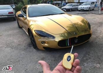 تصاویر مازراتی لوکس طلایی با روکش طلا در تهران