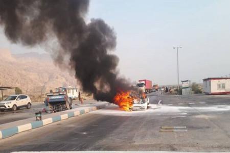 تصادف در عسلویه شش سرنشین را در آتش سوزاند