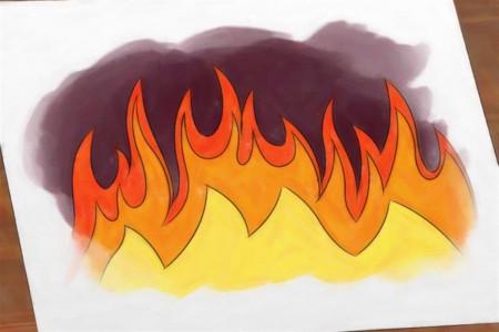 نقاشی آتش و خطرات آتش برای رنگ آمیزی کودکان