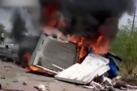 در آتش سوختن 4 نفر پس از تصادف دو کامیون در گمبوعه اهواز