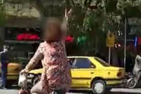 دختر نجف آبادی بی حجاب در حال دوچرخه سواری