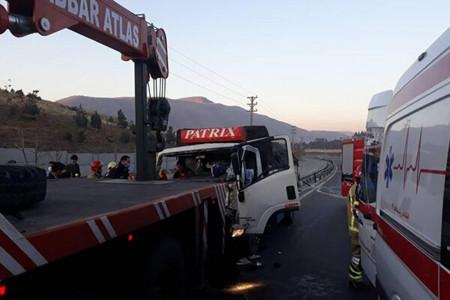 علت حادثه واژگونی اتوبوس کرج قزوین