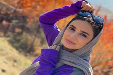 تیپ نامتعارف لیندا کیانی در جاده ی برفی