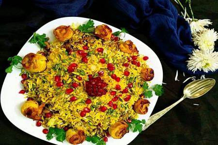 طرز تهیه انار پلو مجلسی برای شام شب یلدا