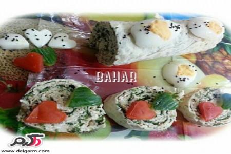 روش تهیه رولت نان و پنير و سبزي
