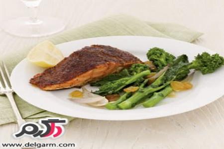 آموزش تهیه ماهی سالمون با کلم بروکلی