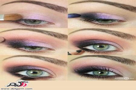 آموزش آرایش چشم بنفش و دودی