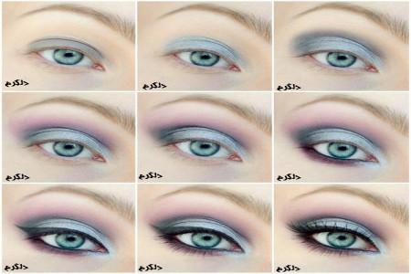 آرایش چشم با سایه های روشن(تصویر آموزشی ساده)