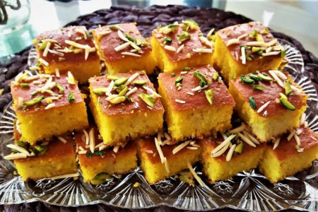 طرز تهیه کیک باقلوای بسیار لذیذ و خوشمزه ویژه مهمانی های خاص
