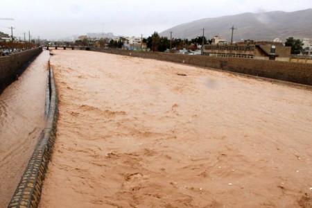 طغیان رودخانه خشک در شیراز + فیلم