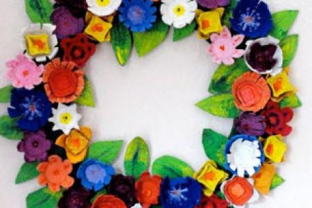 ایده جالب ساخت حلقه گل رنگی با شانه تخم مرغ