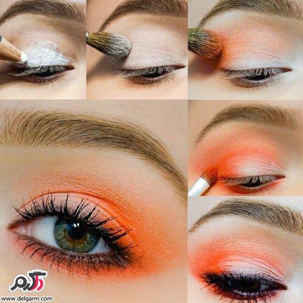 آرایش چشم نارنجی شاد و جذاب دخترانه