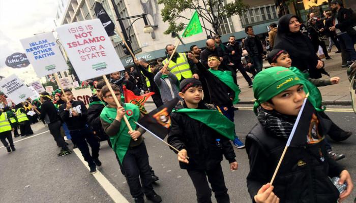 تصاویر حرکت دسته عزاداری ظهر عاشورا در لندن