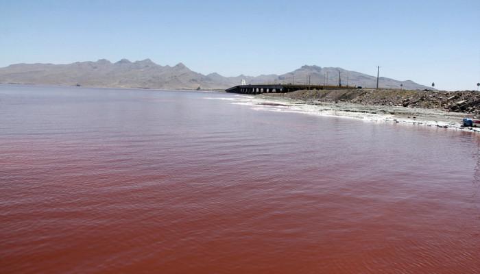 تصاویر تغییر رنگ دومین دریاچه شور دنیا