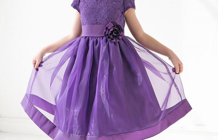 لباس عید 97 دخترانه رنگ بنفش