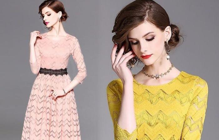 مدل لباس مجلسی کوتاه با گیپور 2018 جذاب برای خانم های مدگرا